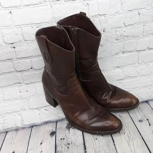 Nine West Pthillary Leather Chunky Boots Size 7.5m